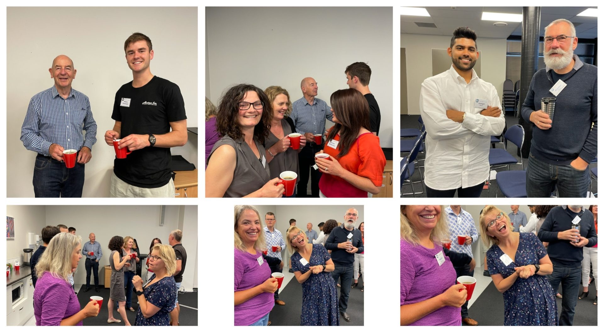 A collage made up of six pictures of different groups chatting over a cup of tea